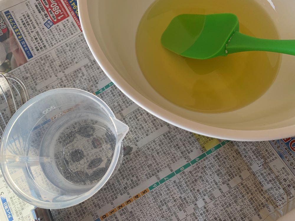 オイルと苛性ソーダ水
